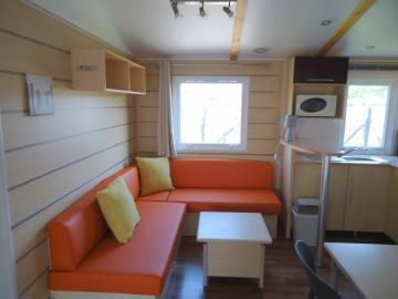 Location mobil home Camping Grissotières coin salon