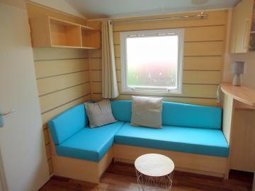 Camping les Grissotières location Mobil home canapé d'angle