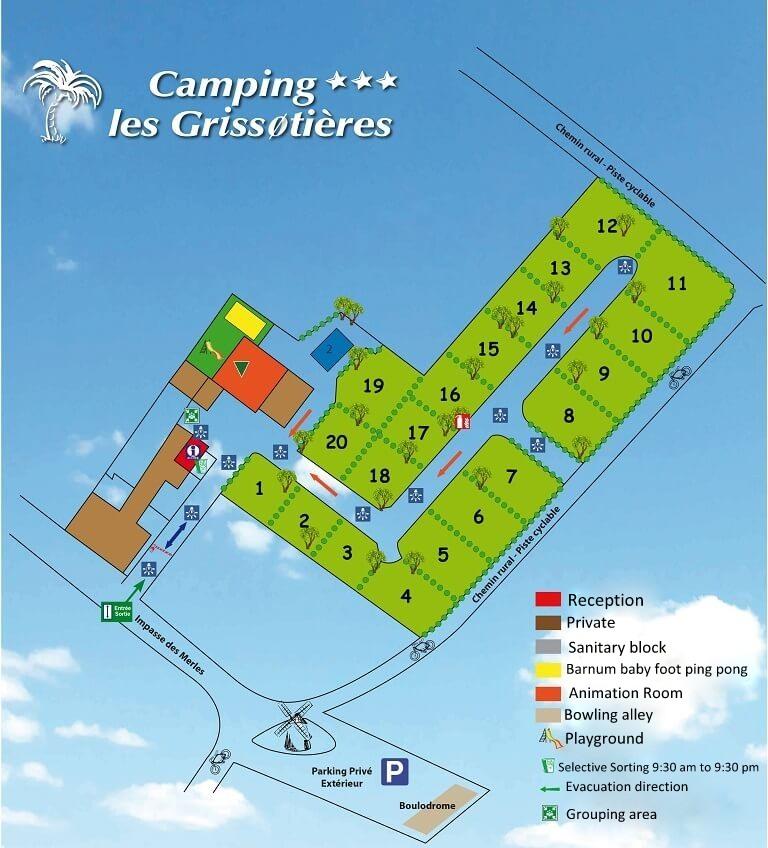 Map of Camping Les Grissotières for rentals