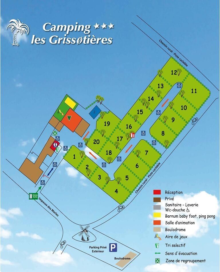 Karte des Campingplatzes Les Grissotières